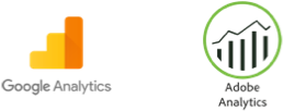 Google Analytics and Adobe Analytics logos