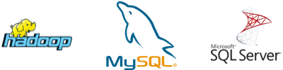 hadoop, MySQL and SQL Server logos