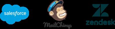Salesforce, MailChimp and Zendesk logos
